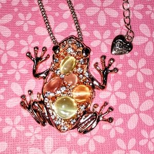 Betsey Johnson Crystal Frog Necklace